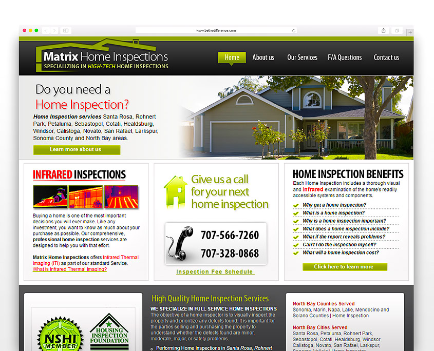 Matrix Home Inspections | SG Designs | Tahoe Web Design