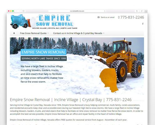 Empire Snow Removal | SG Designs | Tahoe Web Design