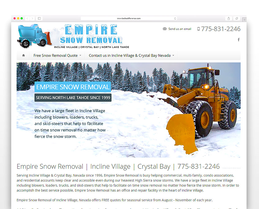 Empire Snow Removal | SG Designs | Tahoe Web Design