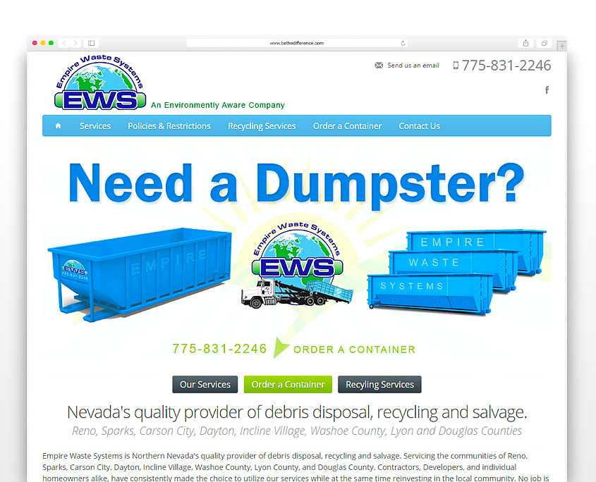 Empire Waste Systems | SG Designs | Tahoe Web Design