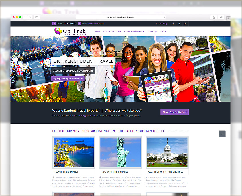 On Trek Student Travel| SG Designs | Tahoe Web Design