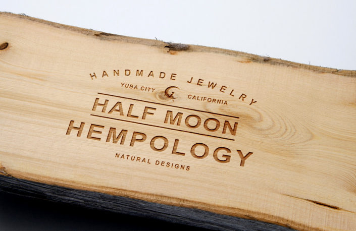 Half Moon Hempology Wood Engraved Design